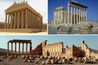 Храм Баала (Бэла) в Пальмире - реконструкция и реальный вид. Нижний кадр - панорама города.