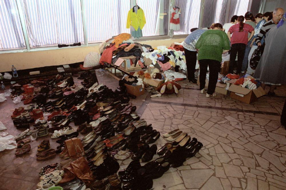 Штаб помощи пострадавшим в результате взрыва жилого дома на улице Гурьянова.