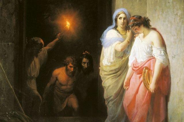 Василий Худяков. Фрагмент картины «Иродиада с дочерью, ожидающая главы св. Иоанна Предтечи».