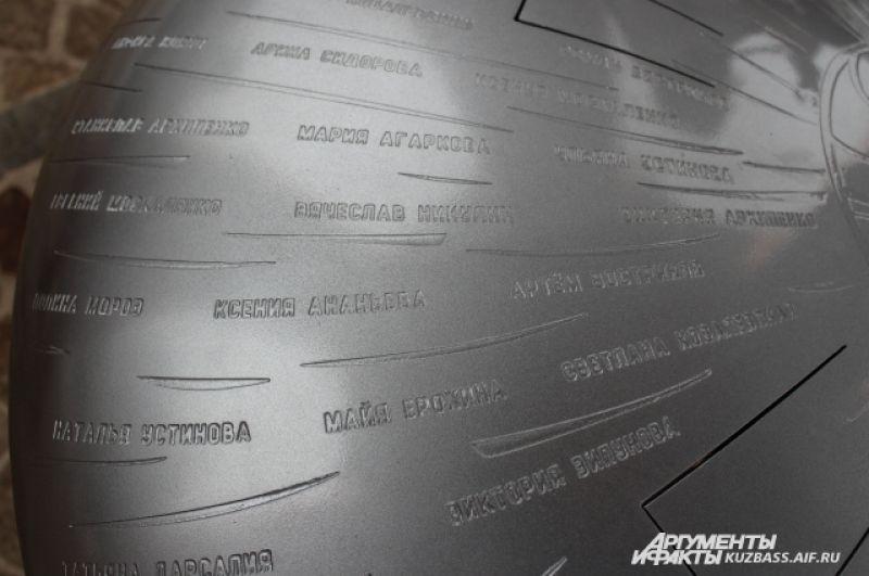 На нем также высечены имена погибших в пожаре в «Зимней Вишне».