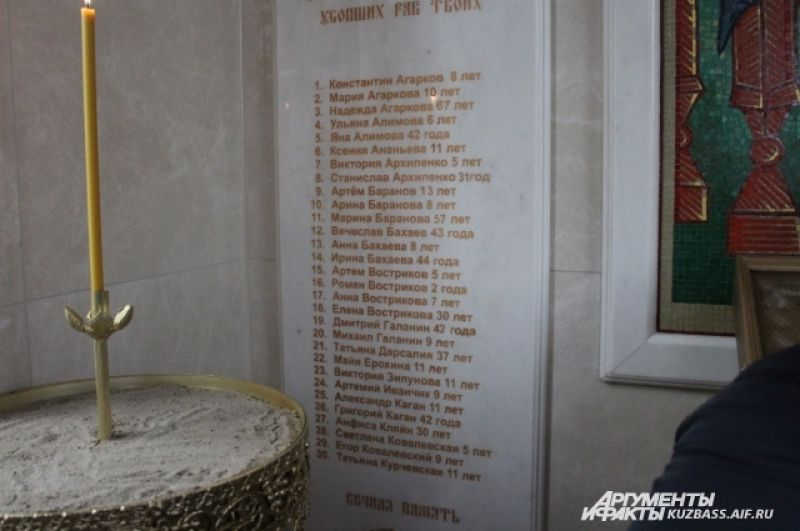 Внутри часовни на стенах установлены плиты с именами всех погибших в пожаре.