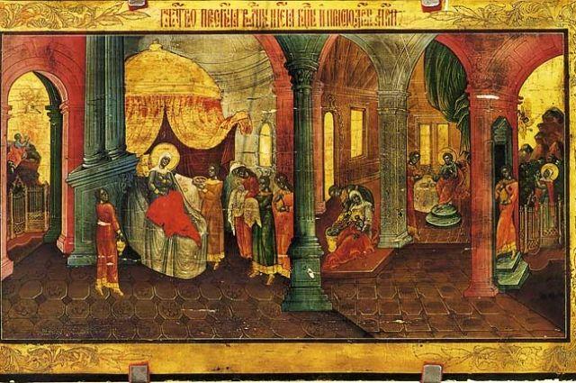 Рождество Пресвятой Богородицы. Фрагмент иконы.