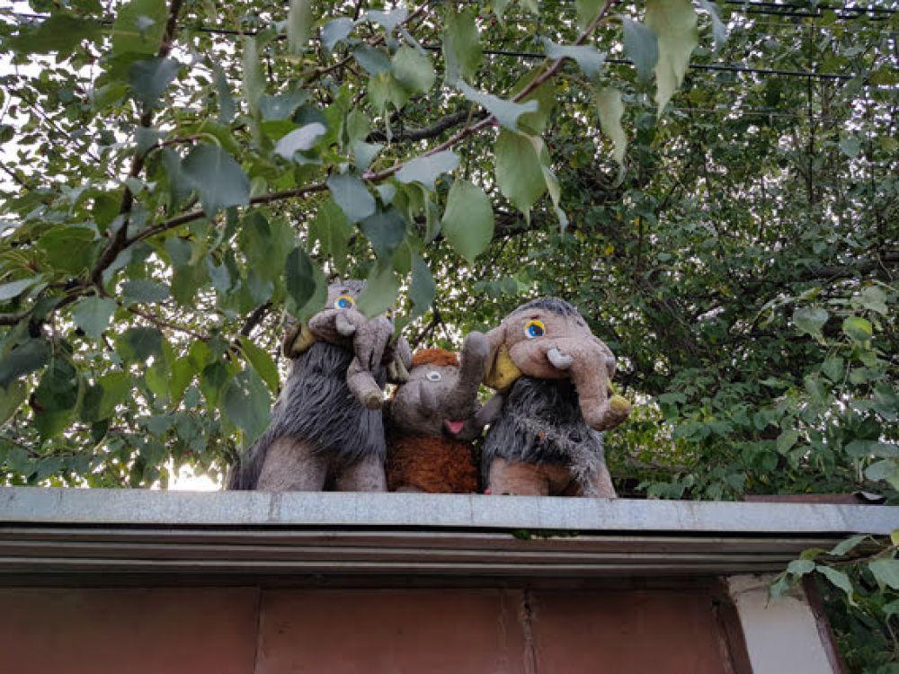 Даже крышу хозяйка дома украсила: с нее за происходящим на участке наблюдают три мамонта. Поговаривают, что это эффективный оберег от краж.