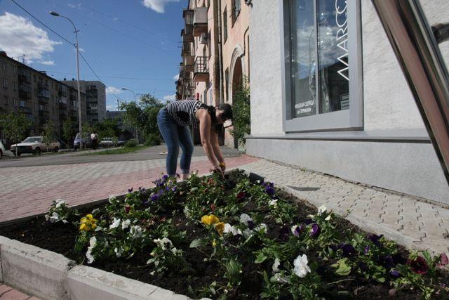 Летом школьники благоустраивают городские территории, ухаживают за клумбами, белят деревья.