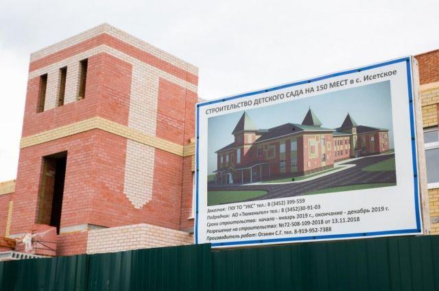В Исетском в конце 2019 года завершат строительство детсада «Солнышко»