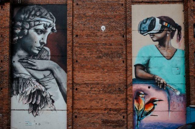 Тюменскую стену украсил 12-метровый стрит-арт