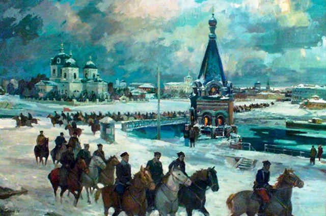 «Крах колчаковской столицы» кисти народного художника РСФСР Кондратия Белова.