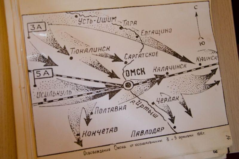 Схема взятия Омска Красной армией.