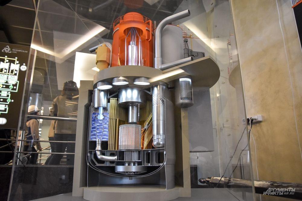 Макет реактора БН-800 и его внутренности.