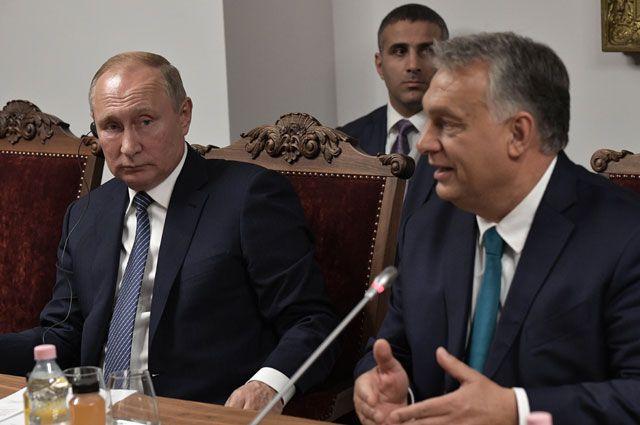 Президент РФВладимир Путин ипремьер-министр Венгрии Виктор Орбан вовремя встречи сиерархами христианских церквей Ближнего Востока.