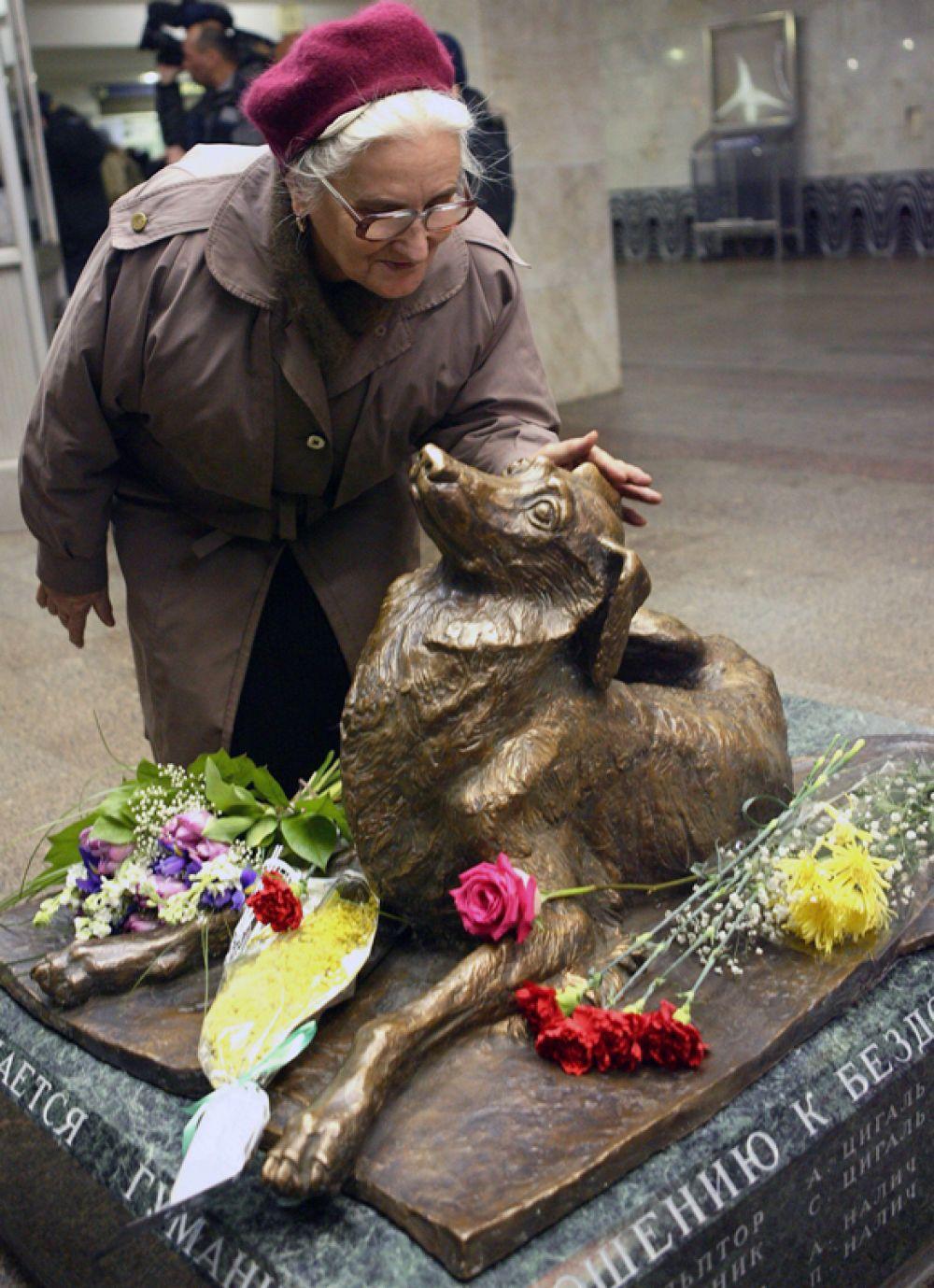 Памятник «Сочувствие», станция метро «Менделеевская», Москва. В 2001 году в переходе этой станции метро был убит пес по кличке Мальчик, которого опекали работники метрополитена.
