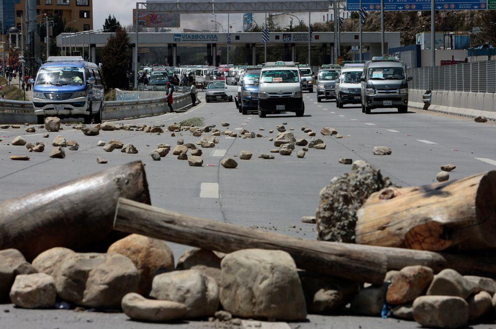 Баррикады на улицах в Ла-Пасе.