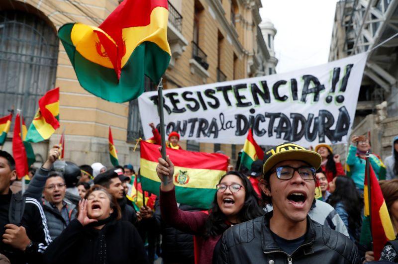 Во время акции протеста против президента Боливии Эво Моралеса в Ла-Пасе.