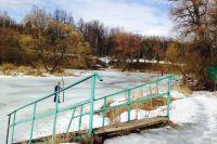 Дети добегали до середины водоёма, где лёд ещё тонкий.