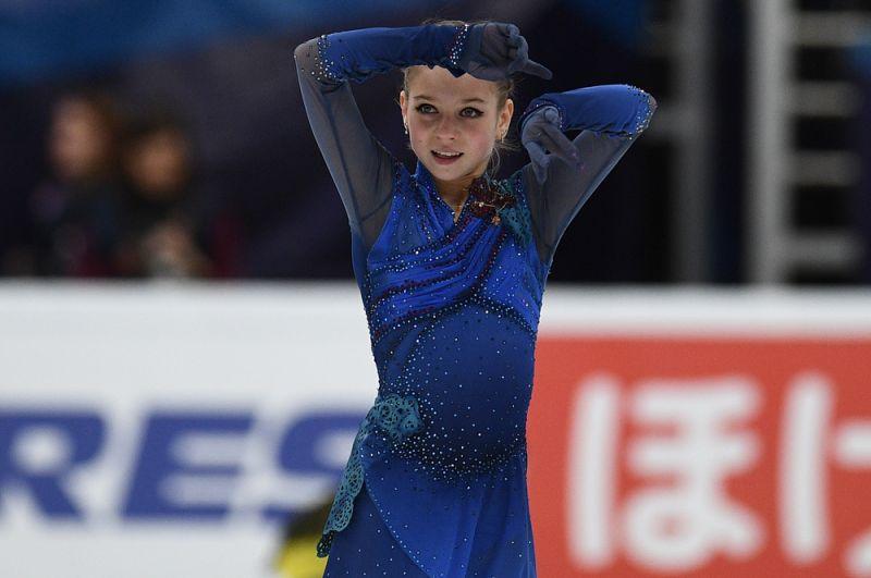 Александра Трусова выступает в произвольной программе женского одиночного катания на V этапе Гран-при по фигурному катанию в Москве.