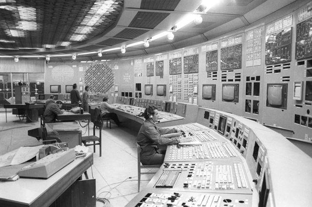 Пульт управления Игналинской атомной электрической станцией. Литовская ССР. Остановлена 31 декабря 2009 года.