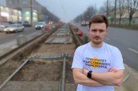 Во время ремонта трамвайных путей на улице Шевченко. Евгений Плёнкин регулярно делает обзоры дорожных работ в городе.