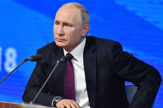 Президент РФ Владимир Путин во время большой пресс-конференции.
