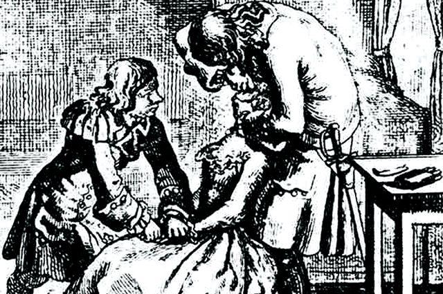 Петр I производит удаление зуба. Гравюра Д.Н. Ходовецкого. XVIII век.