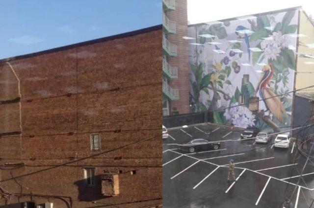 Вот так выглядела стена до и после того, как её украсил расписной баннер