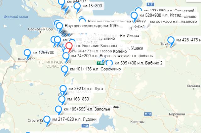 На карте представлены только стационарные комплексы фиксации нарушений.