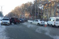 На Морском проспекте в новосибирском Академгородке столкнулись четыре автомобиля.