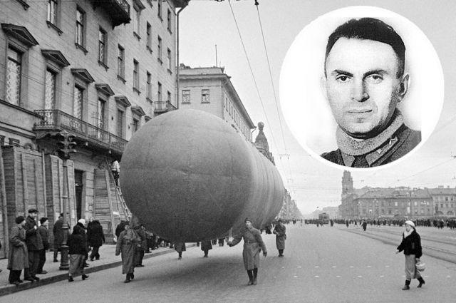 Аэростаты на Невском проспекте в Ленинграде, октябрь 1941. Младший лейтенант Борис Шелищ.