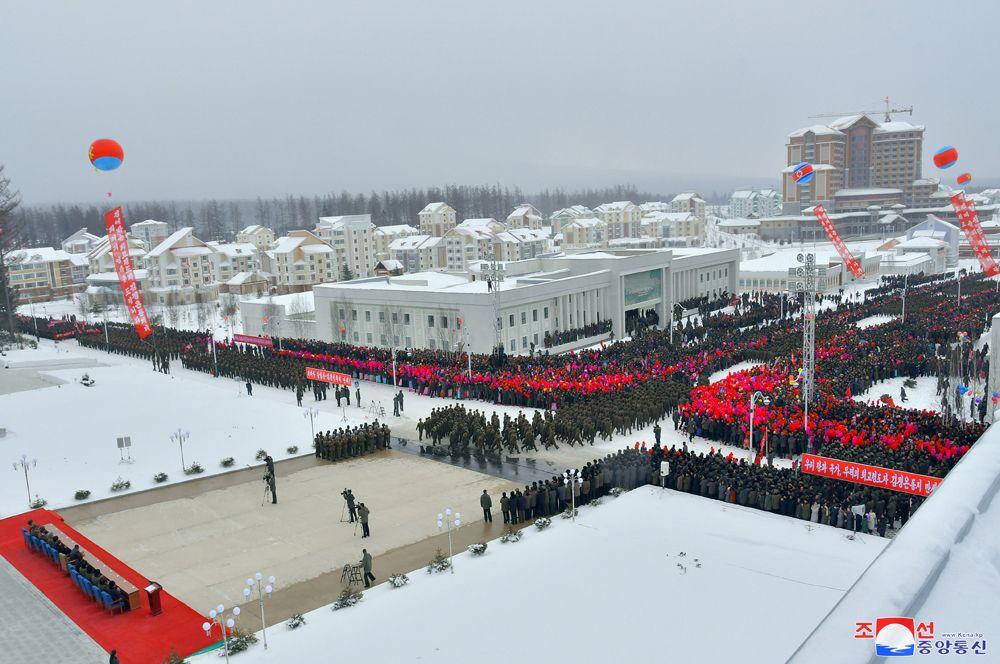 Вид на город Самджиён в КНДР.