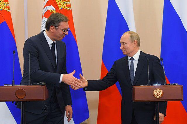 Владимир Путин и Александр Вучич на пресс-конференции по итогам переговоров в Сочи.