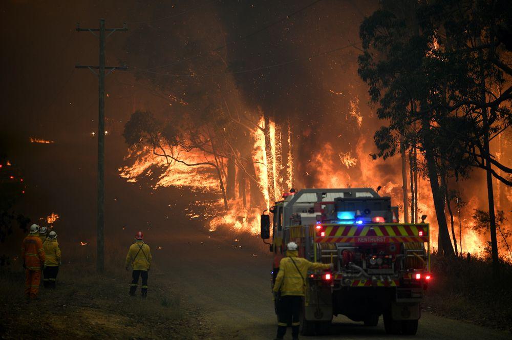Бригада пожарных борется с огнем на Уиллбарроу Ридж-роуд к северо-западу от Сиднея.