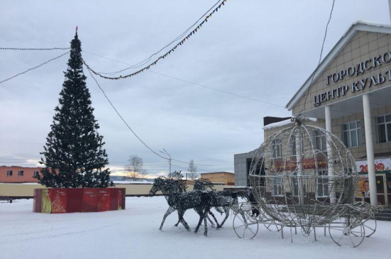 В Мысках ёлку купили на деньги городской казны (679 тыс. руб.) в 2014 г., с тех пор она украшает площадь каждую зиму. Высота ели 15 метров.
