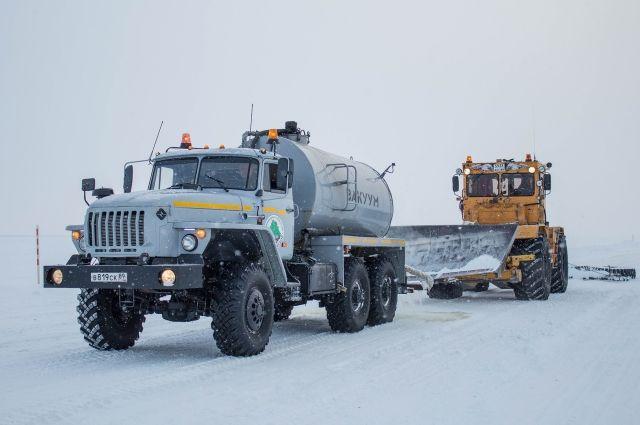 На зимнике Лабытнанги - Мужи - Азовы - Теги идут дорожные работы
