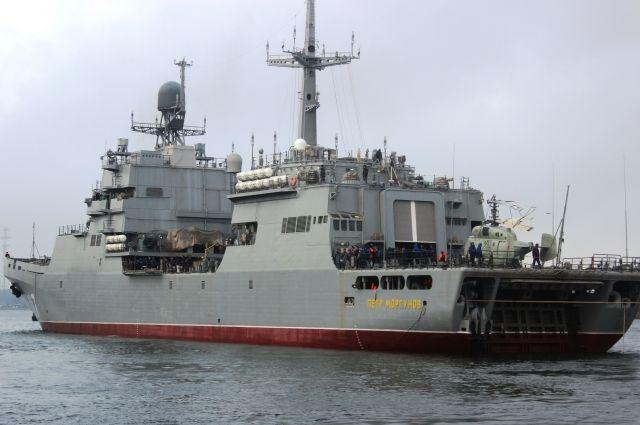 Десантный корабль, построенный на заводе «Янтарь», начал ходовые испытания