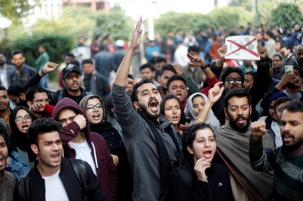 Акция протеста против нового закона о гражданстве в Нью-Дели.