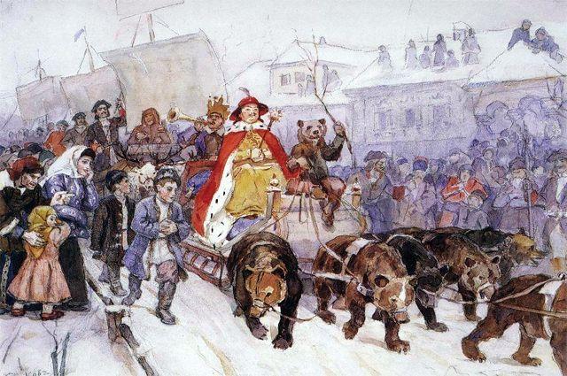 Большой маскарад в 1722 году на улицах Москвы с участием Петра I и князя-кесаря И. Ф. Ромодановского. Василий Суриков.