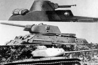 Советские танки Т-40С, Т-34 и КВ-85.