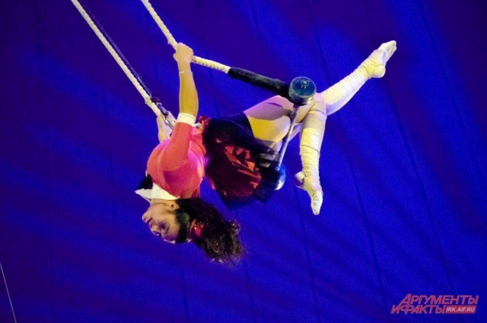 Под самым куполом цирка выступили воздушные гимнасты и эквилибристы.