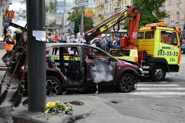 Взорванная в центре Киева машина Павла Шеремета, 20 июля 2016 г.