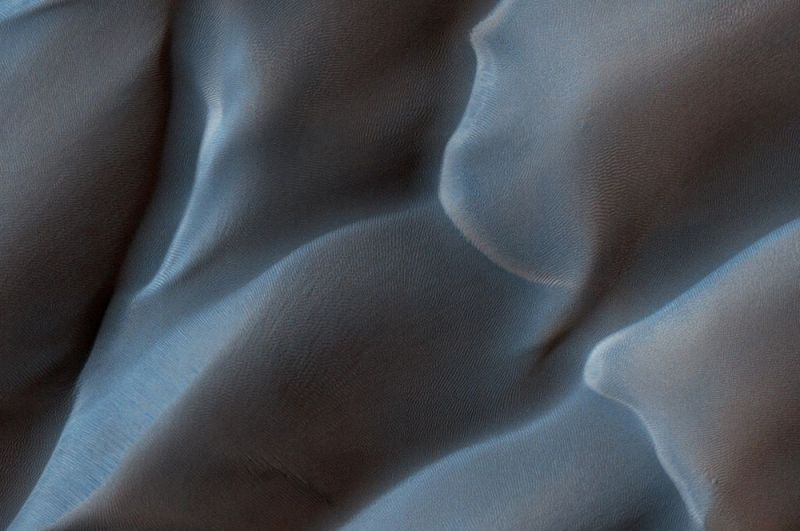 Песчаные дюны на Марсе.