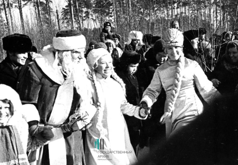 Дед Мороз и Снегурочка. Пермь, 1975 год.