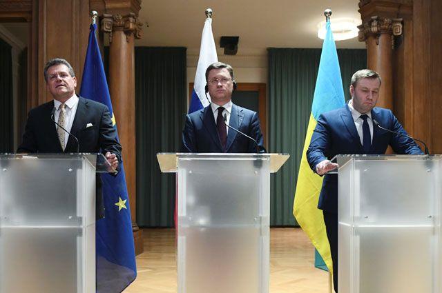 Пресс-конференция после газовых переговоров России и Украины в Берлине.