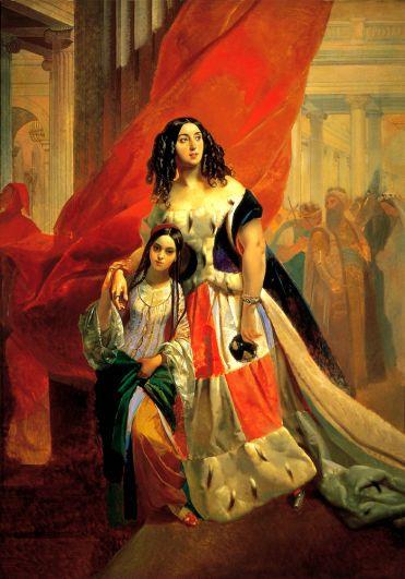 «Портрет графини Ю. П. Самойловой, удаляющейся с бала с приемной дочерью Амацилией Пачини» (не позднее 1842).