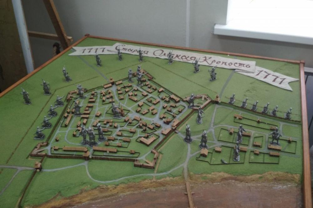 Диорама первой Омской крепости, основанной полковником Бухгольцем на левом берегу Оми.