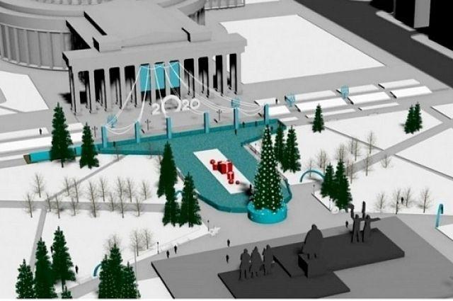 За месяц до открытия катка на пресс-конференции в мэрии Новосибирска представили его эскизы новогодней площади Ленина.