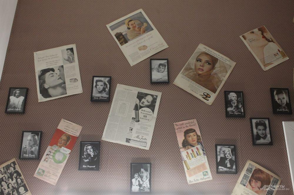 Стена в голливудской части салона украшена фотографиями американских актрис ХХ века.