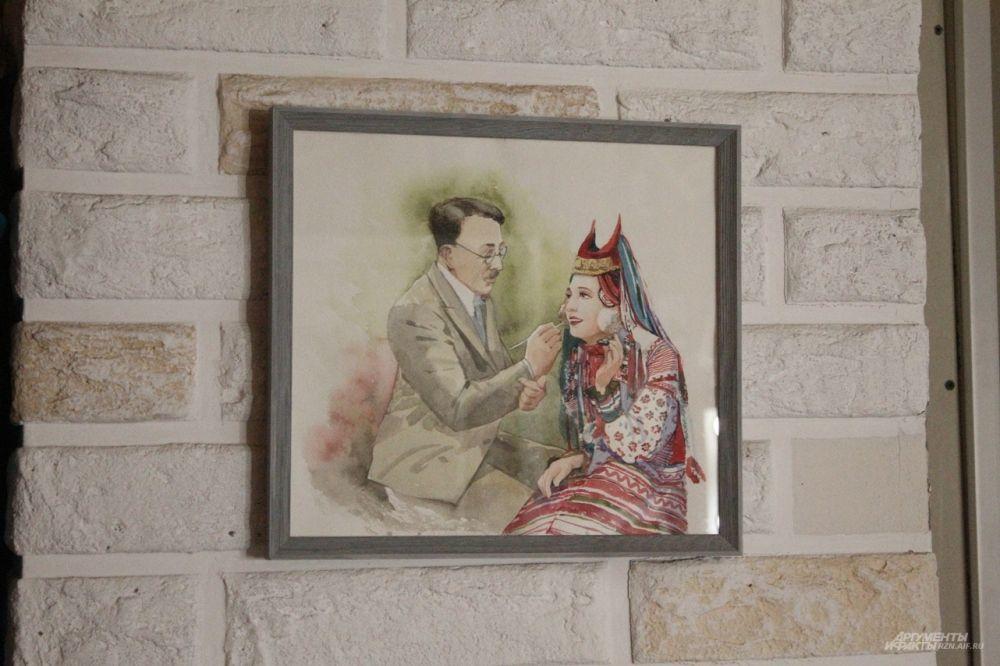 Картина называется «Макс Фактор и Баба Рязанская». Она, конечно же, шуточная.