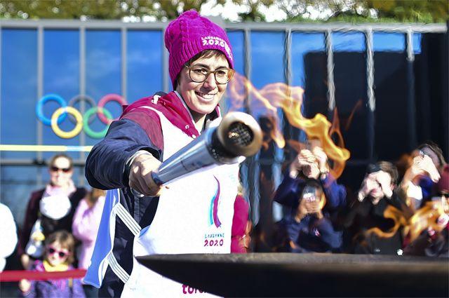 На церемонии открытия зимних юношеских Олимпийских игр.