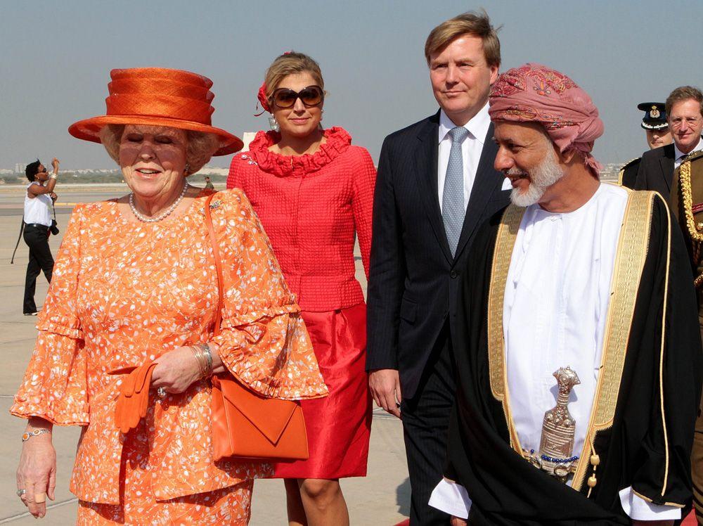10 января 2012 года, султан Омана Кабус бен Саид, королева Нидерландов Беатрикс, ее сын Виллем-Александр с супругой Максимой.