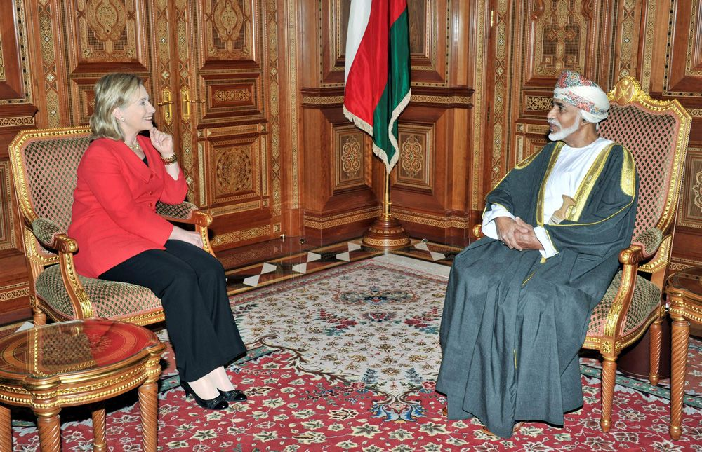 12 января 2011 года, госсекретарь США Хиллари Клинтон и султан Омана Кабус бен Саид.