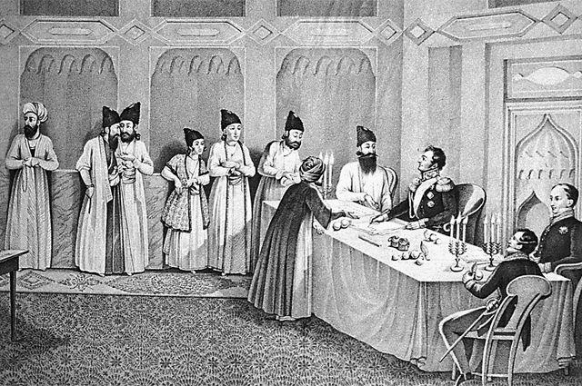 Заключение мирного договора между Российской империей и Персией (Ираном) в Туркманчае (второй справа — Александр Грибоедов), 31 декабря 1828 г.